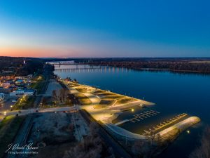 Hannibal Marina Aerial Night